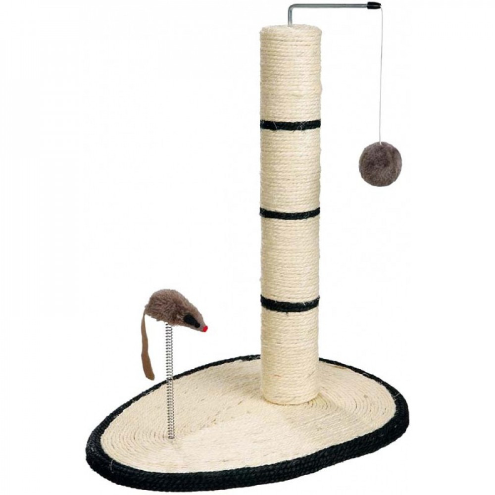 Когтеточка столбик для кошек с подставкой и мышкой на пружине TRIXIE (4306)