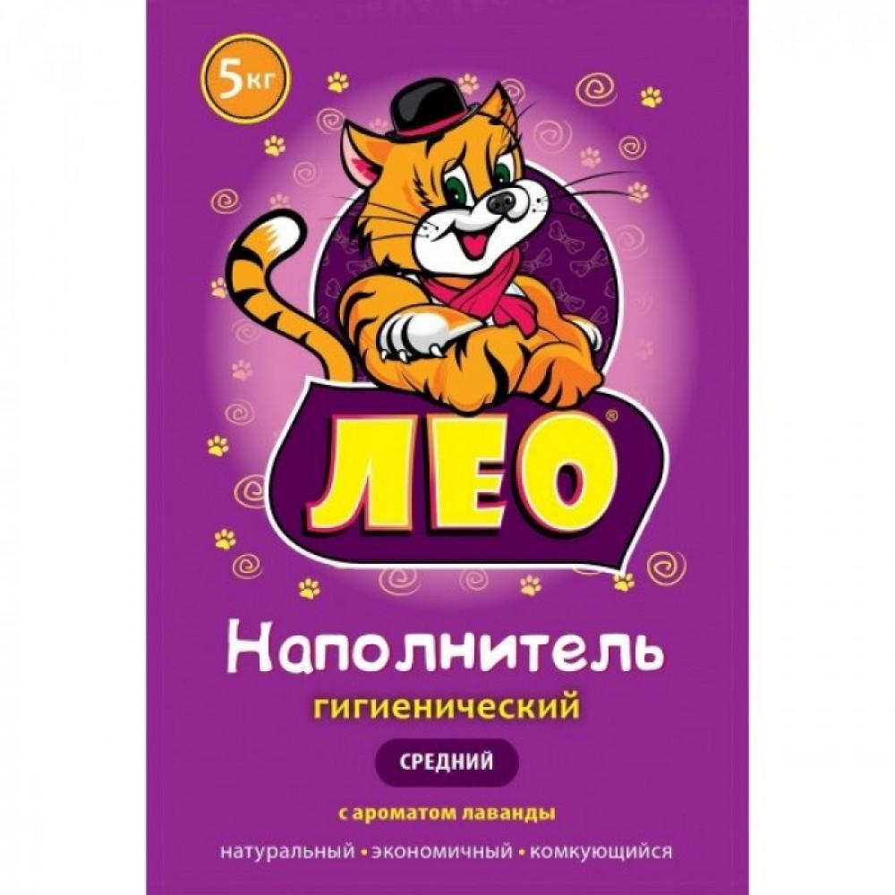 """Наполнитель для кошачьего туалета """"Лео"""" средний с лавандой 5 кг"""