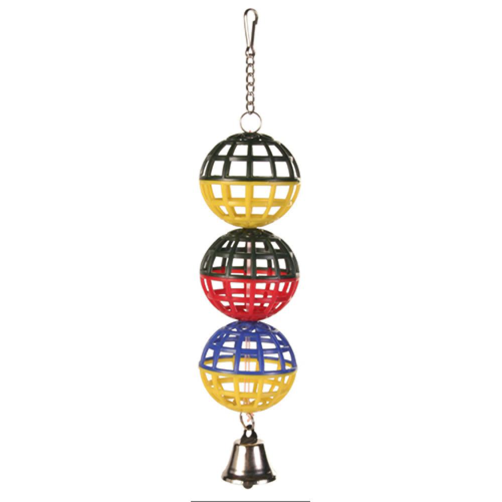 Игрушка для попугая три шарика с колокольчиком Trixie 16 см (5251)