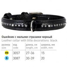Ошейник со стразами для собак в один ряд, кожаный черный Collar Brilliance