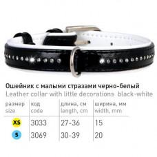 Ошейник со стразами для собак в один ряд, кожаный черно-белый Collar Brilliance