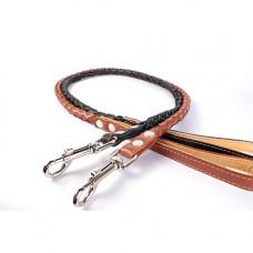 Поводок плетеный кожаный для собак, черный (0525)