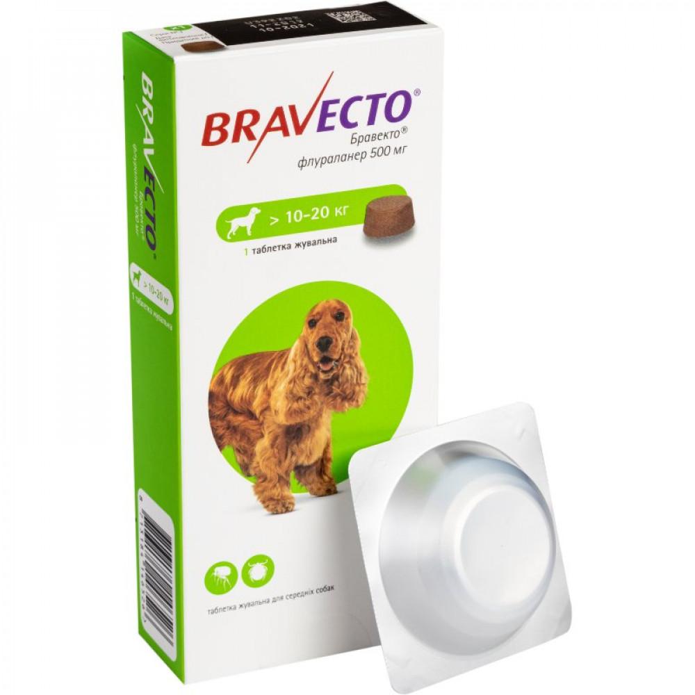 BRAVECTO (Бравекто) – Жевательная таблетка от клещей и блох для собак весом от 10 до 20 кг (1 таб.)