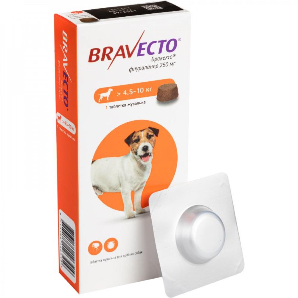 BRAVECTO (Бравекто) – Жевательная таблетка от клещей и блох для собак весом от 4,5 до 10 кг (1 таб.)