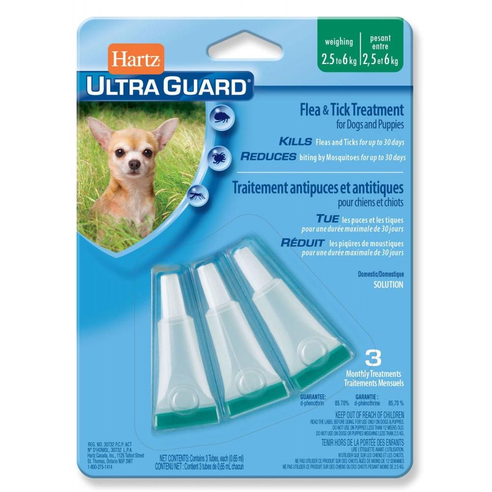 Hartz Ultra Guard 3 в 1 Капли для небольших собак от блох и клещей от 2,5 до 6 кг (3шт)