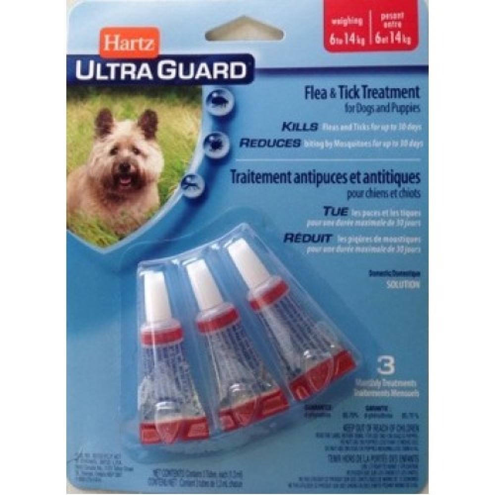 Hartz Ultra Guard 3 в 1 Капли для небольших собак от блох и клещей от 7 до 14 кг (3шт)