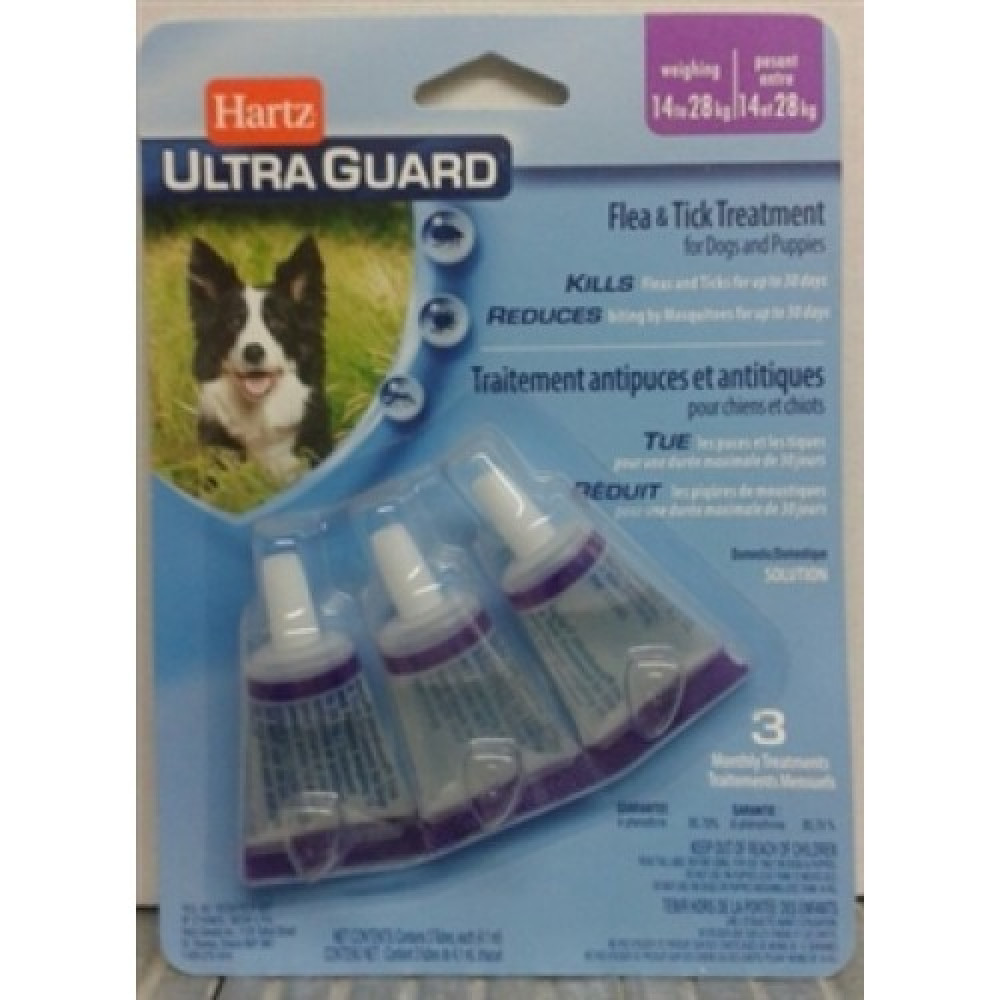 Hartz UltraGuard 3 в 1 Капли для собак от блох и клещей от 14 до 28 кг (3шт)