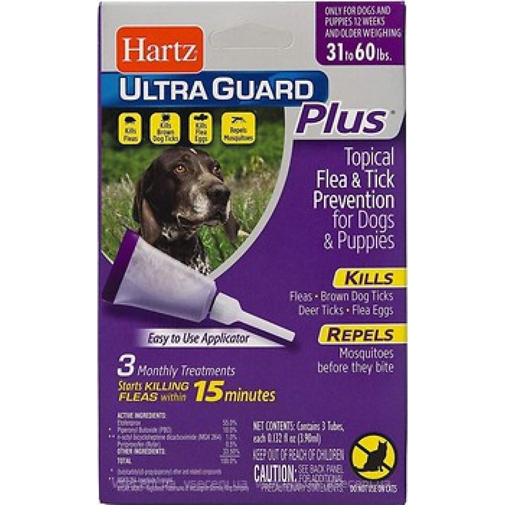 Hartz UltraGuard PLUS Plus 4 в 1 капли от блох и клещей для собак средних пород от 14 до 28 кг (3шт)