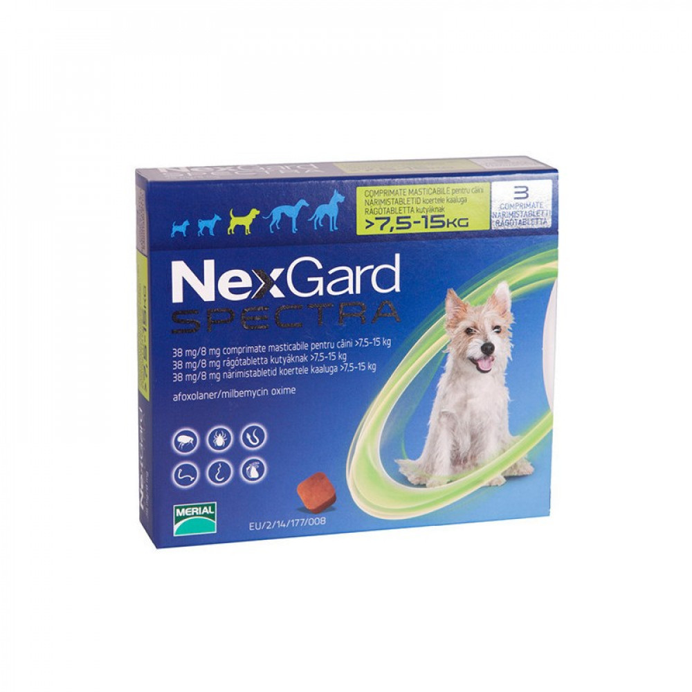 Нексгард (Nexgard Spectra) Таблетки от блох и клещей для собак от 7,5 до 15 кг