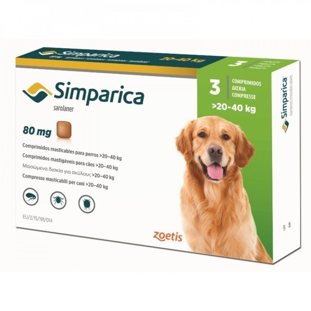 Симпарика Таблетки от блох и клещей для собак от 20 до 40 кг