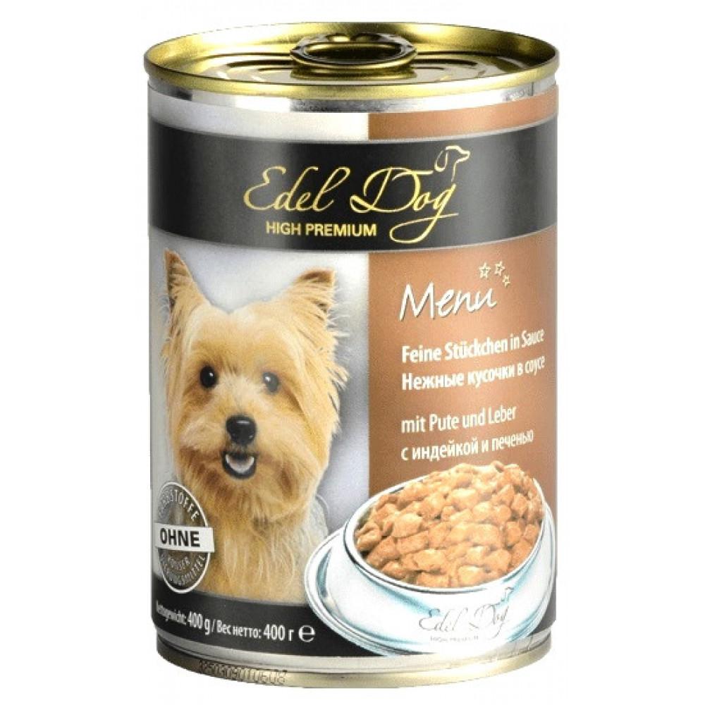 Консервы для собак Edel с индейкой и печенью 400 г