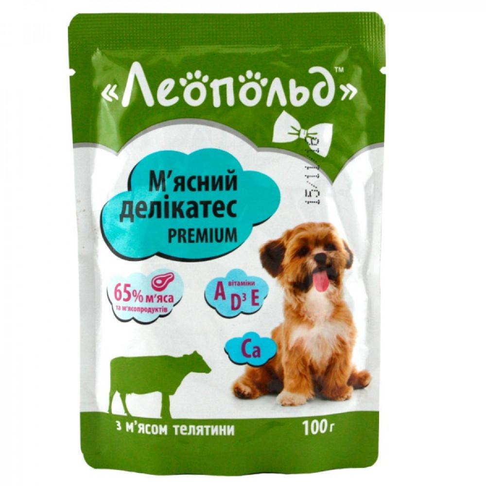 Консервы для собак Мясной деликатес с мясом телятины ТМ Леопольд 100 г