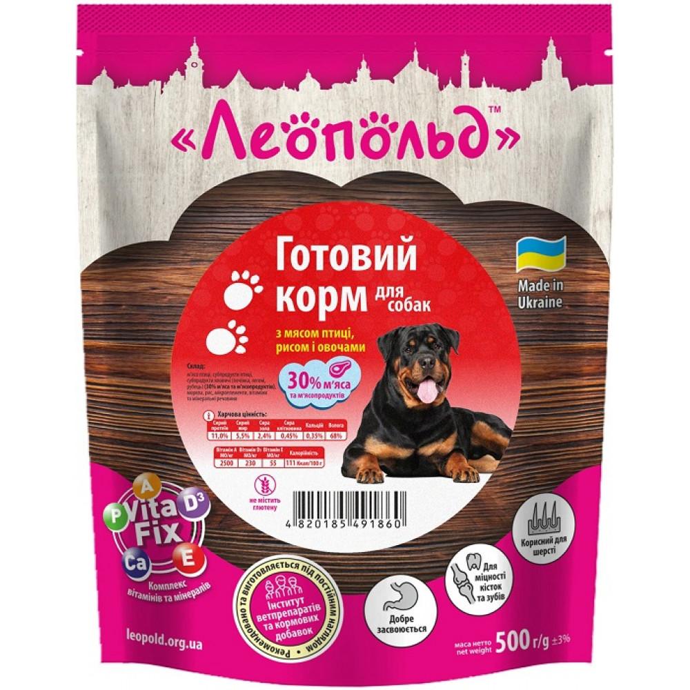 Влажный корм для собак Леопольд Готовый корм с мясом птицы и рисом с овощами 500 г