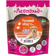 Влажный корм для собак Леопольд Готовый обед с мясом, печенью и курицей 500 г