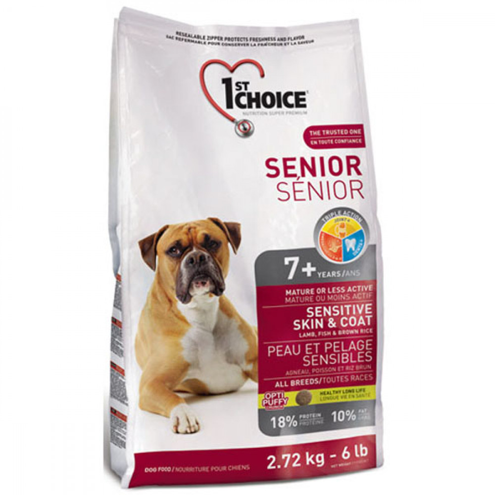 Корм 1st Choice (Фест Чойс) для пожилых собак всех пород с ягненком и океанической рыбой 12 кг