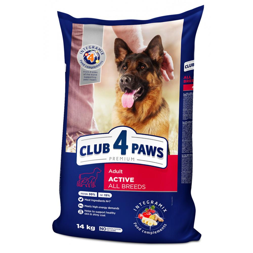 """Корм """"Клуб 4 Лапы"""" для активных взрослых собак от 1 года на основе мяса 14 кг"""
