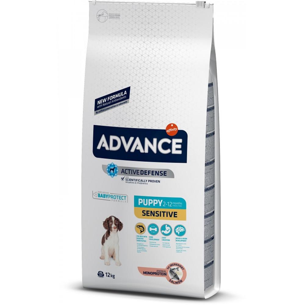 Advance Dog Puppy Sensitive (с лососем и рисом) гипоаллергенный корм для щенков 12 кг