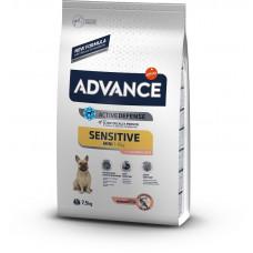 Advance Mini Sensitive Корм для собак с лососем и рисом 7.5 кг