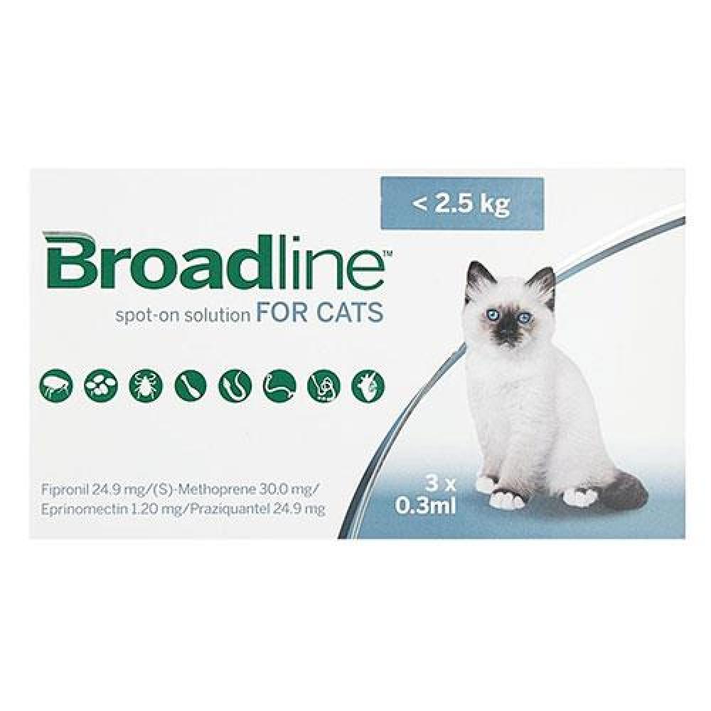 Бродлайн для кошек капли от блох, клещей и глистов до 2.5 кг