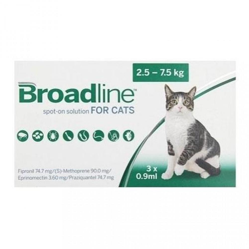 Бродлайн для кошек капли от блох, клещей и глистов от 2.5 до 7.5 кг