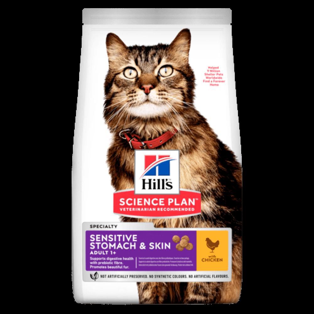 Хиллс корм для кошек для чувствительного пищеварения, кожи и шерсти Hill's Feline Adult Sensitive Stomach & Skin