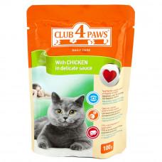 Консервы для кошек Клуб 4 Лапы с курицей в соусе (паучи)