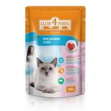 Консервы для кошек Клуб 4 Лапы с лососем в желе (паучи)