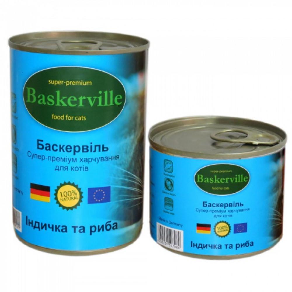 Консервированный корм для кошек Baskerville индейка и рыба