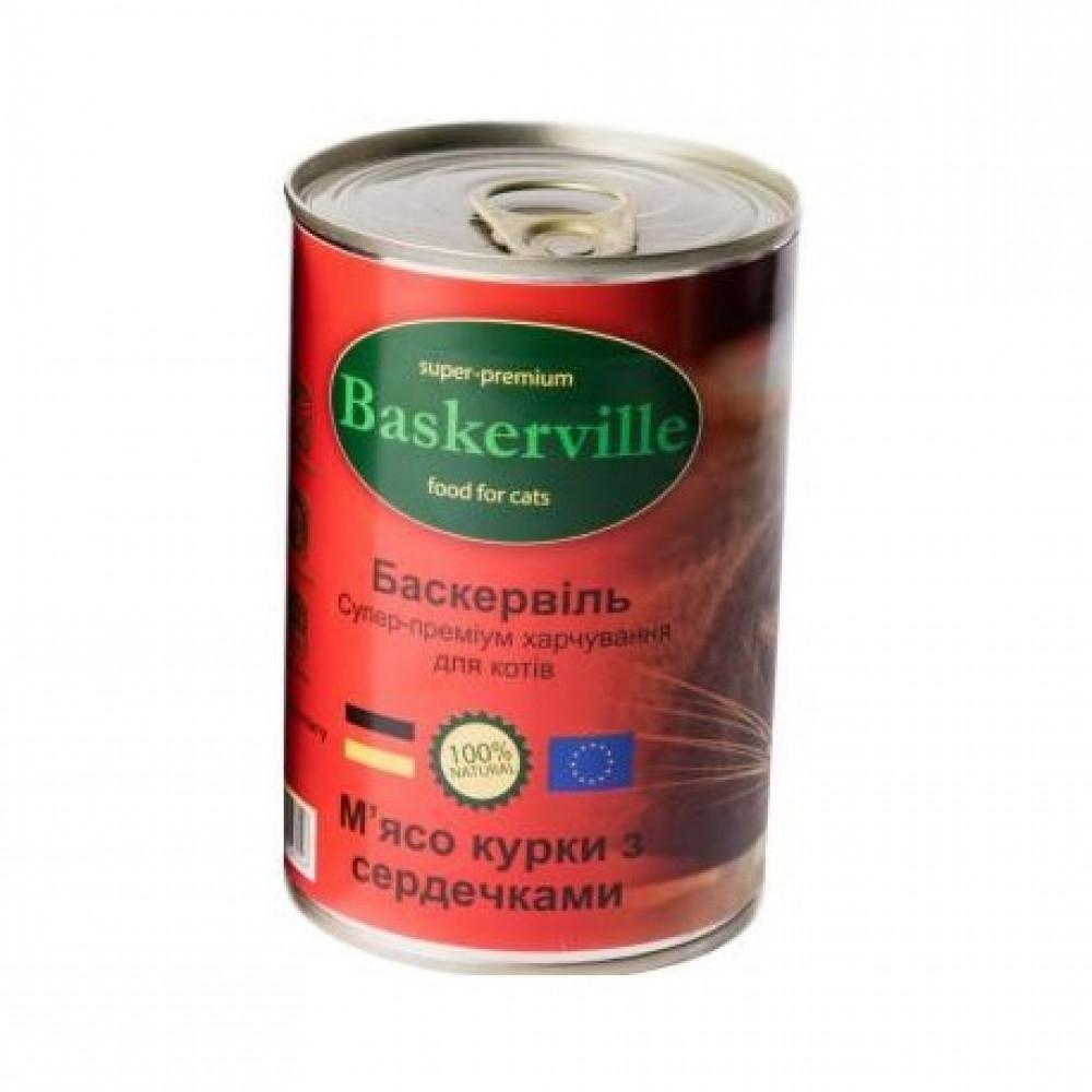 Консервированный корм для кошек Baskerville мясо курицы и сердечки
