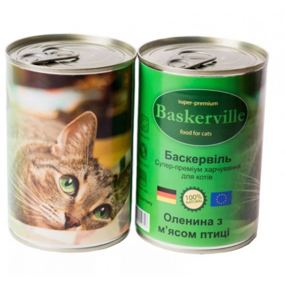 Консервированный корм для кошек Baskerville с олениной и куриным мясом