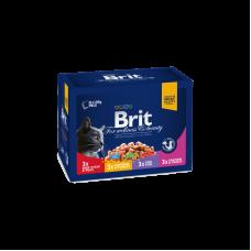 Набор влажных кормов для кошек Brit Premium Cat FAMILY PLATE 4 вкуса (12 шт. х 100 г)
