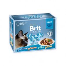 Набор влажных кормов для кошек Brit Premium Cat FAMILY PLATE 4 вкуса в соусе (12 шт. х 85 г)