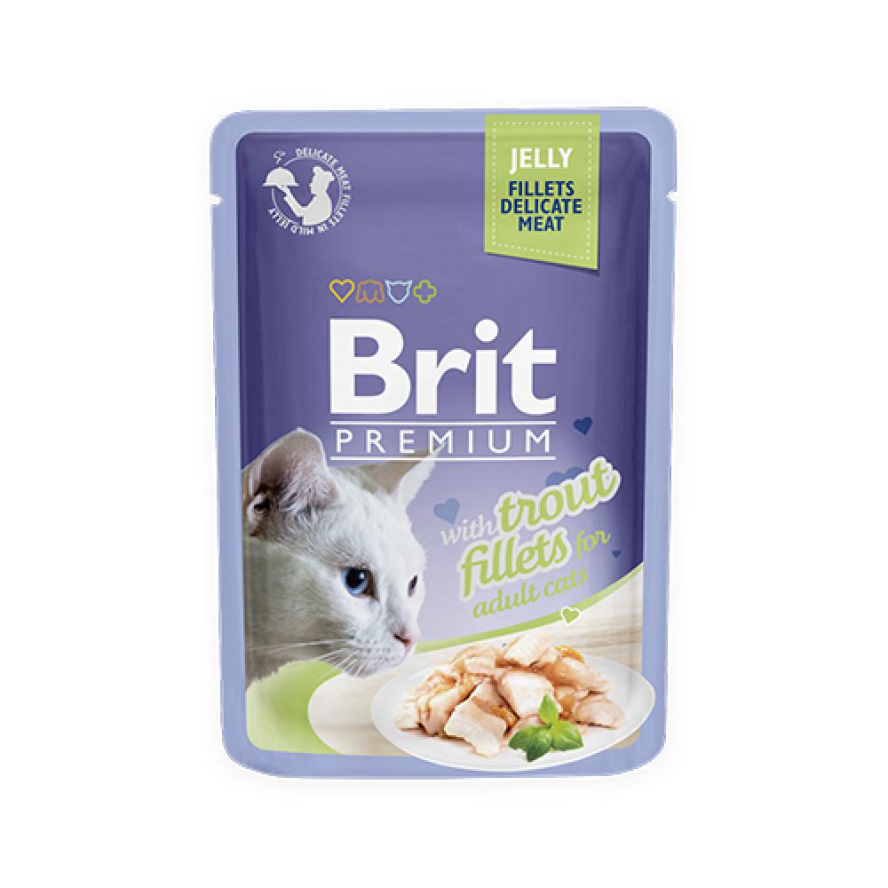 Паучи Брит (Brit) Premium для кошек кусочки форели в желе 0.85 кг