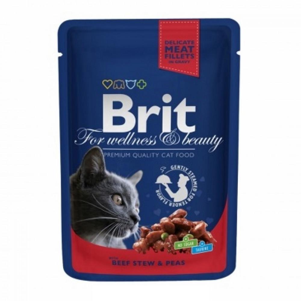 Паучи Брит (Brit) Premium для кошек кусочки говядины с горошком в соусе 0.1 кг