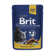 Паучи Брит (Brit) Premium для кошек кусочки курицы и индейки в соусе 0.1 кг