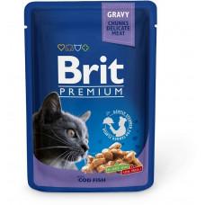 Паучи Брит (Brit) Premium для кошек кусочки трески в соусе 0.1 кг