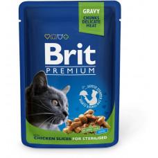 Паучи Брит (Brit) Premium для кошек стерилизованных кусочки курицы в соусе 0.1 кг