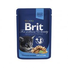 Паучи Брит (Brit) Premium для котят кусочки курицы в соусе 0.1 кг