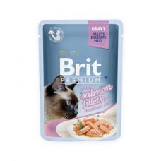 Паучи Брит (Brit) Premium Sterilised для кошек кусочки лосося в соусе 0.85 кг