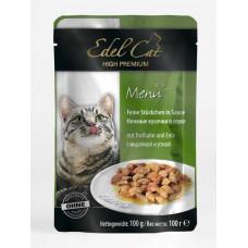 Edel Cat – паучи Эдель кусочки в соусе с индейкой и уткой 100 г
