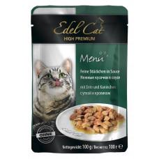 Edel Cat – паучи Эдель кусочки в соусе с уткой и кроликом 100 г