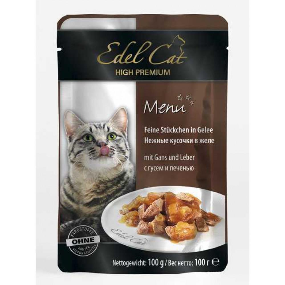 Edel Cat – паучи Эдель кусочки в желе с гусем и печенью 100 г