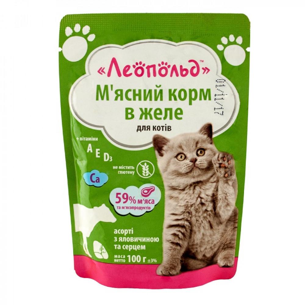 Леопольд пауч 100 г для котов Ассорти с говядиной и сердцем в желе