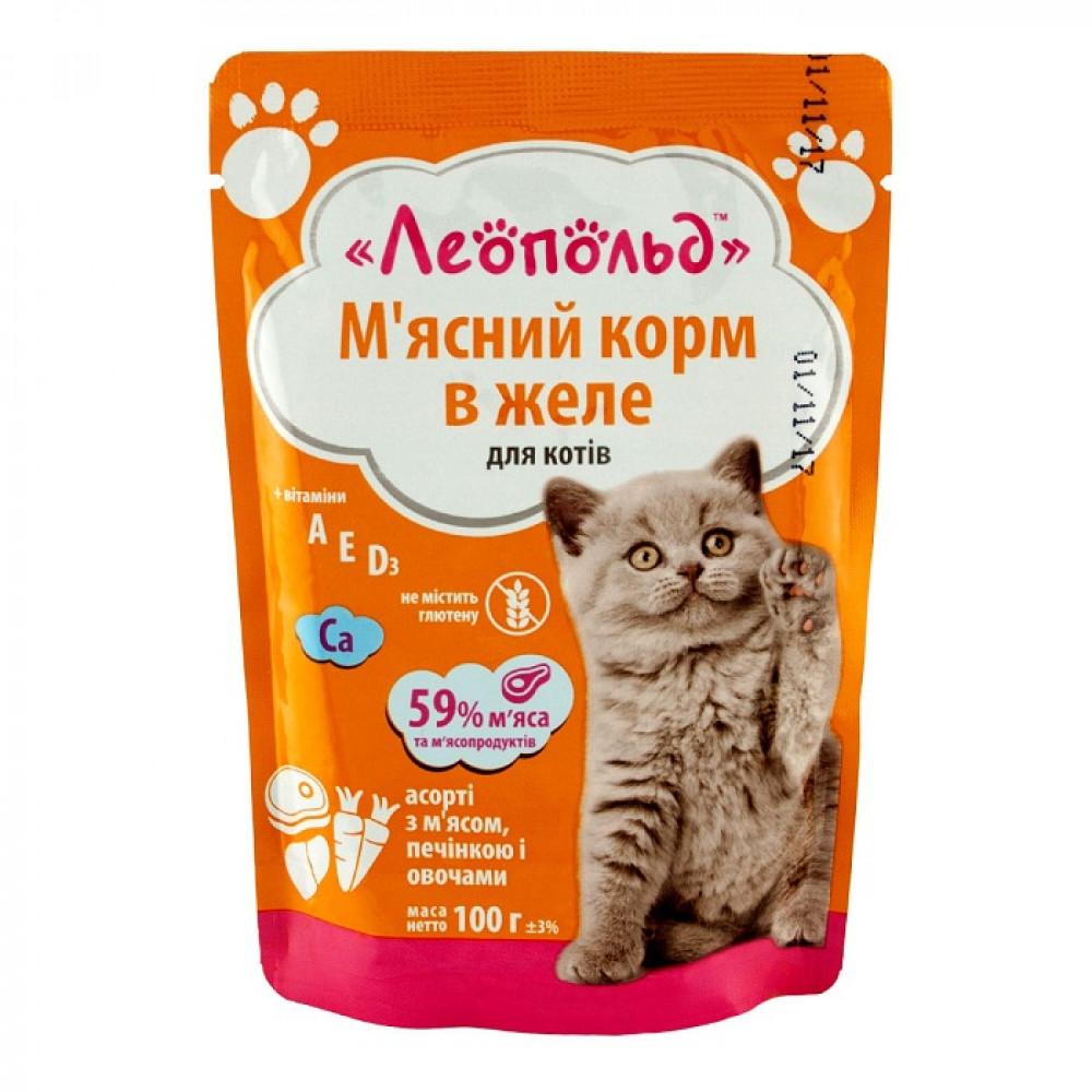 Леопольд пауч 100 г для котов Ассорти с мясом, печенью и овощами