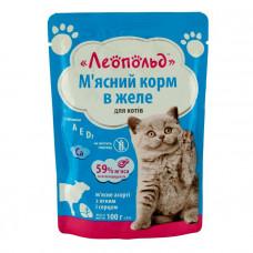 Леопольд пауч 100 г для котов Ассорти с ягнёнком и сердцем в желе