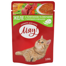 Консервы для кошек МЯУ! с телятиной и овощами в желе