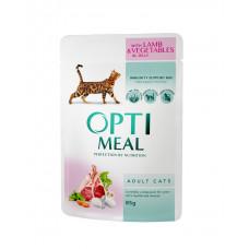 Консервы для кошек OptiMeal (Оптимил) с ягненком и овощами в желе