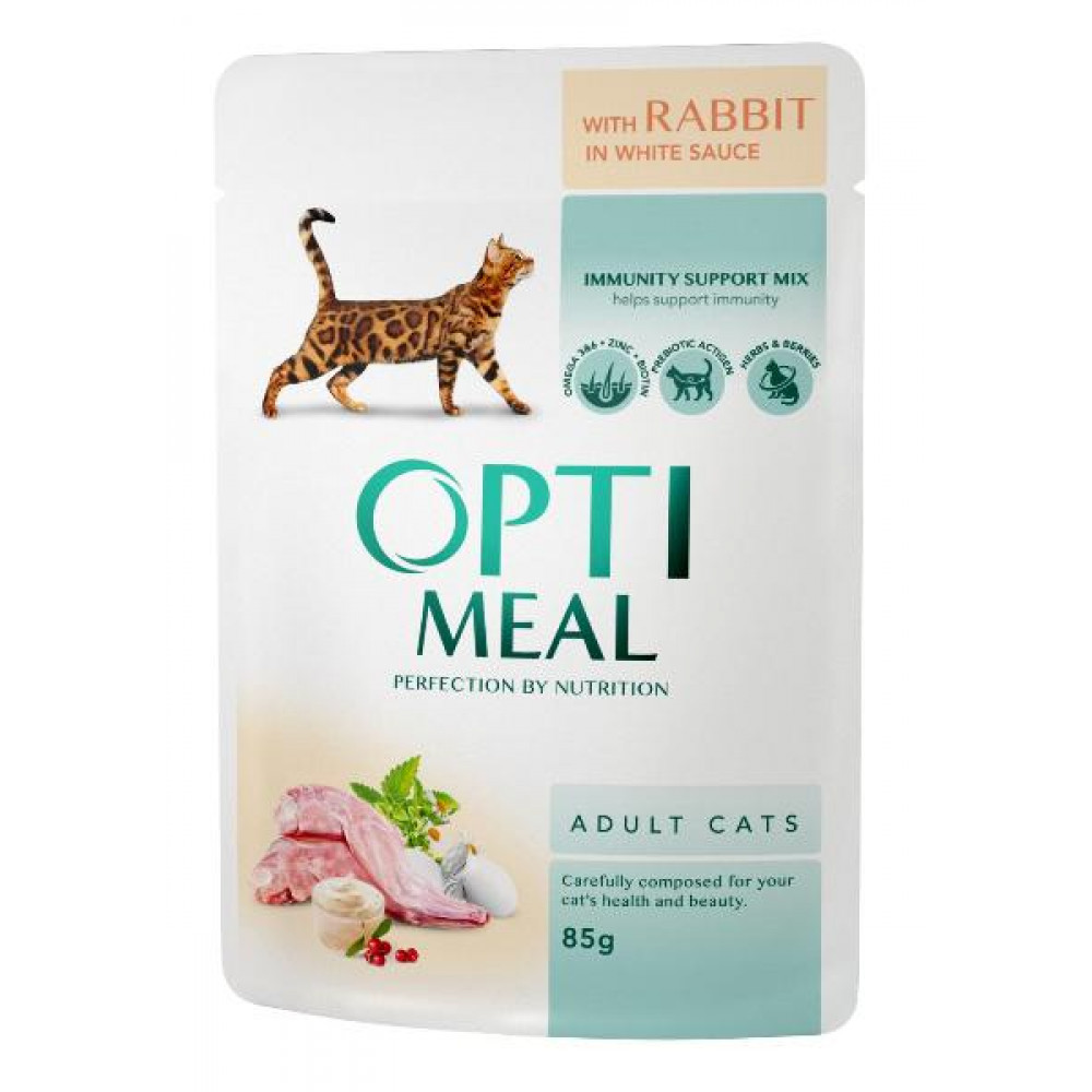 Консервы для кошек OptiMeal (Оптимил) с кроликом в белом соусе