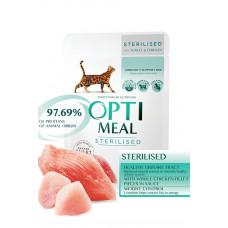 Консервы для стерилизованных кошек Оптимил с индейкой и куриным филе в соусе 85г