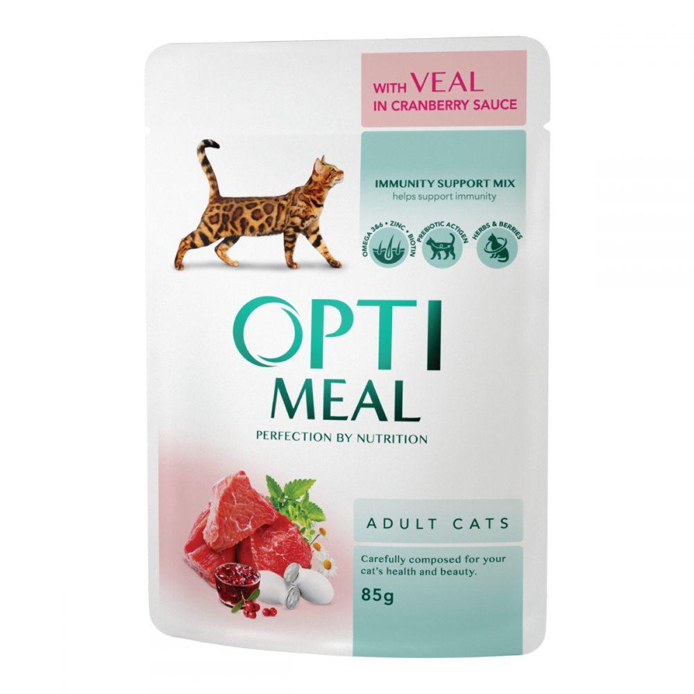 Консервы для кошек OptiMeal (Оптимил) с телятиной в клюквенном соусе